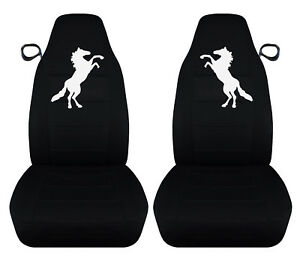 99 04 Ford Mustang Front Car Seat Covers Black With White Mustang Horse
