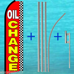 Oil Change Swooper Flag 15 Pole Mount Kit Auto Repair Feather Banner 1500