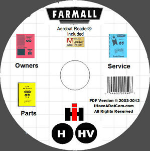 Farmall H Hv Tractor Owners Parts Service Manuals