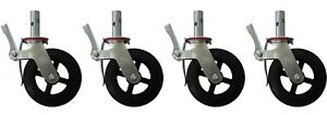 A Set Of 4 Scaffolding 8 Rubber Caster Wheel With Double Locking Brakes Cbm1290