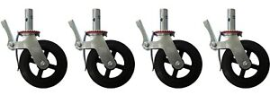 A Set Of 4 Scaffolding 8 Rubber Caster Wheel Double Lock Brakes 800 Lbs Capacit