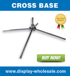Cross Base For Feather Teardrop Blade Shark Fin Flag Pole Free Spin X Mount