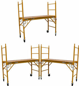 Set Of 3 Baker Mfs Scaffold Rolling Towers 29 w X 6 h Deck With Double Locks Cbm