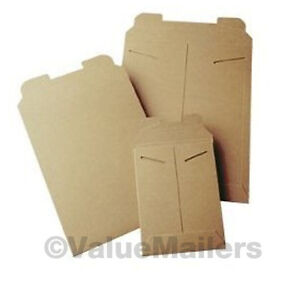 100 9 75x12 25 Kraft Rigid Photo Mailers Tab Locking Stay Flat Stayflats