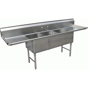 Allstrong 3 Compartment Sink 18 X 18 With 2 Of 18 Drainboards Etl Se18183d