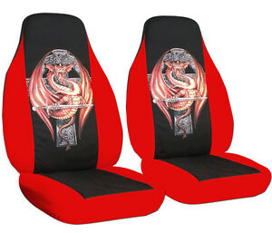 Cool Set Front Car Seat Covers Red blk W dragon On Cross other Colors