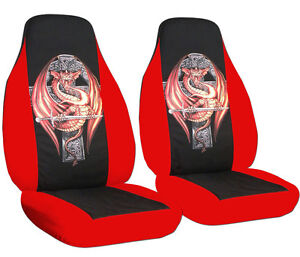 Cool Front Set Car Seat Covers Universal Size Red Blk W Dragon On Cross Fits