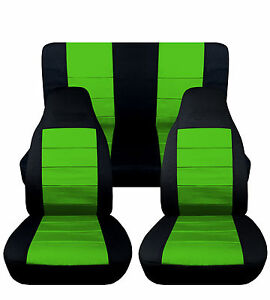 Fits Jeep Yj Blk Lime Green Front Rear Cotton Car Seat Covers Other Color Avbl