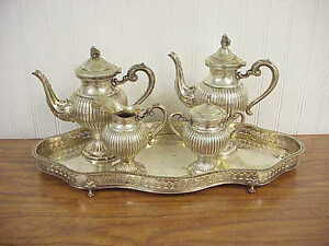 Old Italian 800 Silver 5 Piece Tea Set W Tray