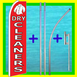 Dry Cleaners 15 Flag Kit Pole Mount Advertising Sign Feather Swooper Banner