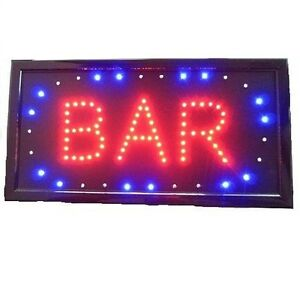 Animated Motion Led Business Bar Sign Light On off Switch Open Bright Light Neon