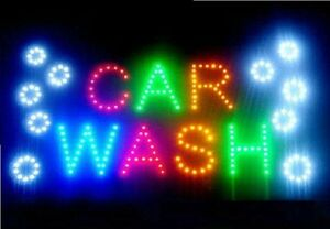 Led Business Car Wash Sign Open Bright Light With On off Switch Gas Station Neon