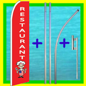 Restaurant 15 Flag Kit Pole Mount Advertising Sign Feather Swooper Bow Banner
