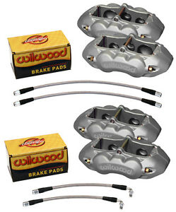 Wilwood Caliper Pad Line Kit 6 Piston Front 4 Rear 65 82 Corvette C 2 C 3