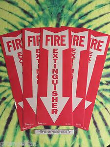 lot Of 5 Self adhesive Vinyl fire Extinguisher Arrow Sign s 4 X 12 New