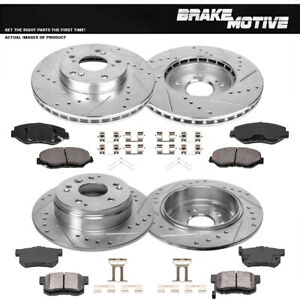 Front rear Drill Slot Brake Rotors Ceramic Pads For 2003 2011 Honda Element