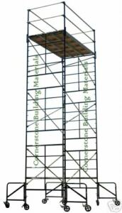 Scaffold Rolling Tower With 21 High Standing Deck Guardrail And Ladder Frames