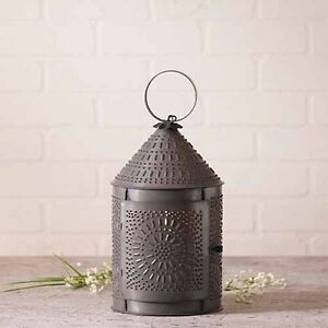 Fireside Lantern In Blackened Tin Country Accent Table Light