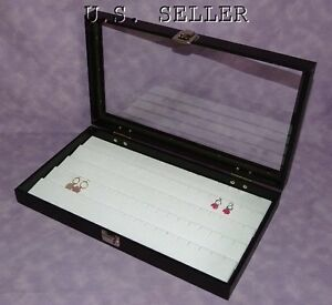 White 90 Earring Glass Top Jewelry Display Case Hinged Lid