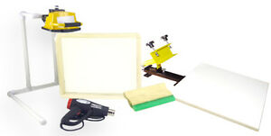 Screen Printing Press 1 Color 1station Heat Gun Exposure Stand Equipment Kit