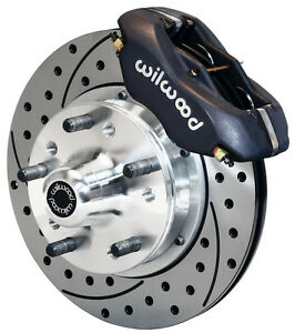Wilwood Disc Brake Kit Front 64 74 Gm 11 Drilled Rotors Black Calipers Chevy