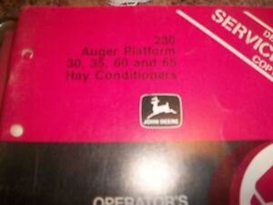 John Deere Operator s Manual 230 Auger Platform 30 35 60 65 Hay Conditioners