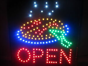Bright Led Animated Open Pizza Shop Restaurant Retail Sign Large 19x19 Pasta Bbq