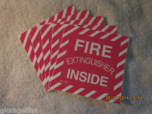 lot Of 5 fire Extinguisher Inside Self adhesive Vinyl Sign s 4 X 4 New