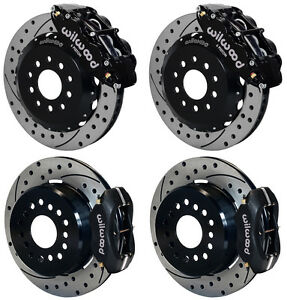 Wilwood Disc Brake Kit 2005 newer Ford Mustang 13 12 Drilled black Calipers