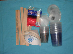 Paint Refinishing Kit Mixing Cups Lids Strainers Paint Sticks Tack Cloth