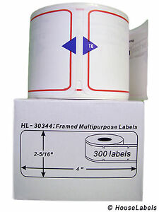 25 Rolls Of 300 Framed Multipurpose Labels For Dymo Labelwriters 30344