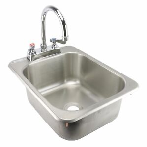 Ace Stainless Steel 13 X 17 Drop In Hand Sink With No Lead Faucet Etl Hs 1317ihg
