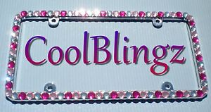 Big Clear Baby Pink And Hot Pink Rhinestone Crystal Bling License Plate Frame