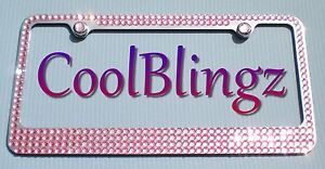 Baby Pink Mega Bling Diamond Crystal Rhinestone License Plate Frame Screw Caps