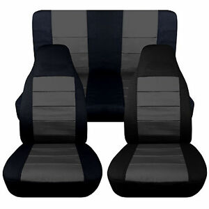 Front rear Car Seat Covers Black charcoal Cotton Fits Jeep Wrangler Yj 87 1995