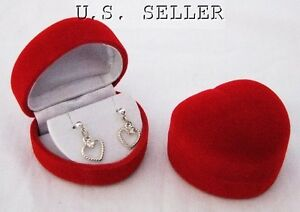 12 Red Flocked Heart Shaped Earring Gift Boxes