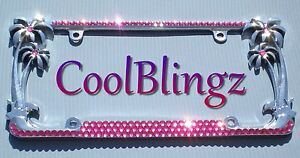 Rose Pink Rhinestone Crystal Diamond Bling Palm Tree Metal License Plate Frame