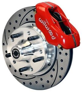 Wilwood Disc Brake Kit front 65 68 Impala chevy 11 Drilled Rotors red Calipers