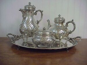 Antique German Mh Wilkens Sohne 800 Silver 4 Piece Tea Set W Tray