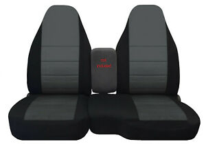 Car Seat Covers Black Charcoal Center Fits 98 03 Ford Ranger 60 40 Highback