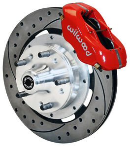 Wilwood Disc Brake Kit Front 65 68 Impala Chevy 12 Drilled Rotors Red Calipers