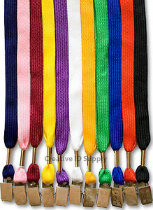 Lanyard 500 Pcs Flat Neck Strap Lanyard Bulldog Clip For Id Badges 11 Colors