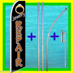 Jewelry Repair 15 Banner Flag Kit W Mount Advertising Sign Feather Swooper Bow