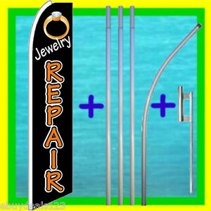 Jewelry Repair 15 Banner Flag Kit W Mount Advertising Sign Bow Feather Swooper