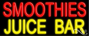 Smoothies Juice Bar Handcrafted Real Glasstube Neon Sign