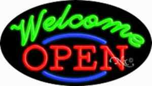 Open Welcome Handcrafted Real Glasstube Flashing Neon Sign