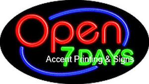 Open 7 Days Handcrafted Real Glasstube Flashing Neon Sign