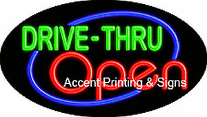 Drive thru Open Handcrafted Real Glasstube Flashing Neon Sign