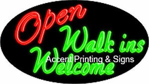 Open Walk ins Welcome Handcrafted Real Glasstube Flashing Neon Sign