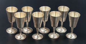 Set Of 8 Sterling Silver Cordials By P Lopez G Circa 1960 Eagle 1